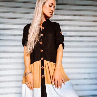 Vestido Lino combinado Negro, Beige y Crudo