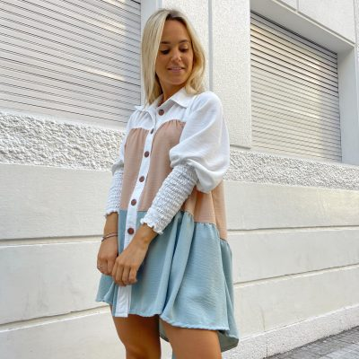 """Camisa/ Vestido """"Rose"""" con Celeste"""