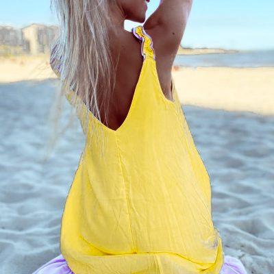 Vestido Mango Amarillo y Lila
