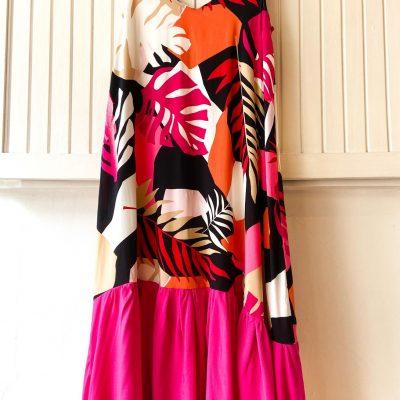 Vestido Eva Hojas – Fucsia y Naranja