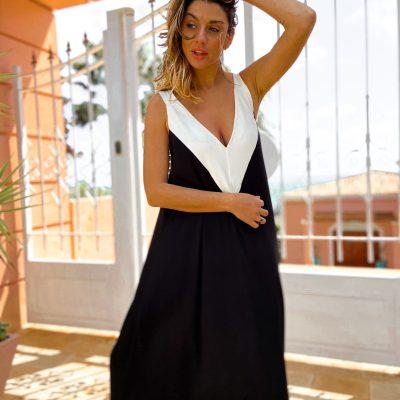 Vestido Brooklyn Negro con Escote Blanco